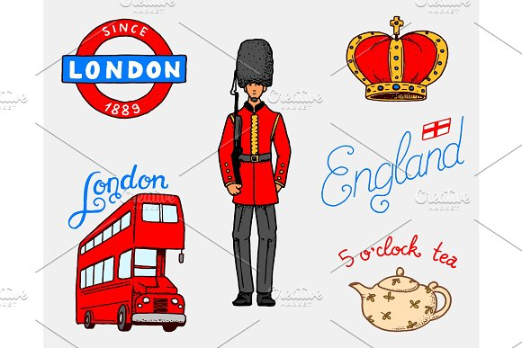 British Logo Crown And Queen Teapot With Tea Bus And Royal Guard London And The Gentlemen Symbols Badges Or Stamps Emblems Or Architectural Landmarks United Kingdom Country England Label