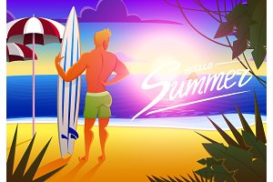 Surfer on the ocean beach at sunset with surfboard. vector illustration, vintage effect. sports man on weekends, healthy lifestyle.