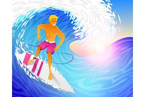 Surfer riding on blue ocean wave with surfboard. Muscular man on weekends. Happy young guy on the crest. Sea and Beach. Active healthy lifestyle, extreme sport concept. vector illustration.