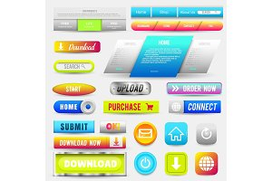 Collection of Web Buttons, Elements Set. Vector Templates, banners and labels, media, ribbons icons for website or app, navigation menu bars.