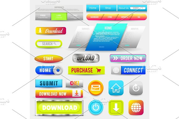 Collection Of Web Buttons Elements Set Vector Templates Banners And Labels Media Ribbons Icons For Website Or App Navigation Menu Bars