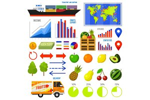 Healthy vegetarian food and fruit infographics. Vitamin Export Import, chart and icons, dieting concept, business information, transportation service. map, geolocation, ship, cargo, container, diagram