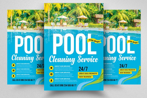 Pool Cleaning Service Flyer Template Flyer Templates Creative Market
