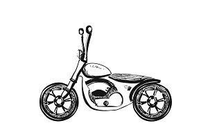 Hand draw style of a vector new motorcycle illustration. Sketch motorbike