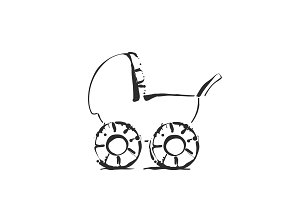 Baby stroller vector sketch icon isolated on background. Hand drawn cartoon carriage.