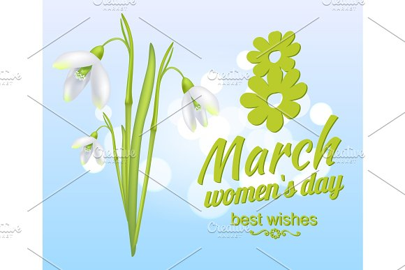 8 March Womens Day Best Wishes Greeting Card Design