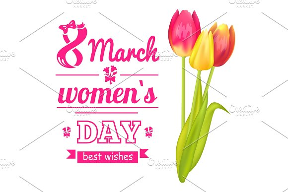 8 March Poster And Tulip Vector Illustration