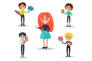 Redhead Girl in Full Skirt and Boys with Gifts