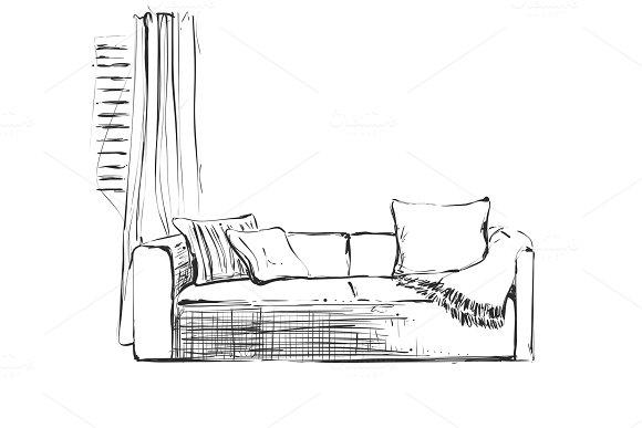 Modern Interior Room Sketch Hand Drawn Sofa