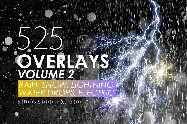 525 Rain, Snow, Lightning Overlays