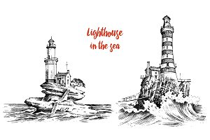 Lighthouse and sea. Vintage sketch.