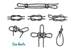 Sea rope knots in different directions for water transport. Marine sketch with ornament. engraved hand drawn, atlantic tidal wave. Tied and twisted nautical cord for Military fleet, ships and yachts.
