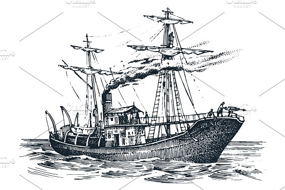 Motor Ship In The Sea Summer Adventure Active Vacation Seagoing Vessel With Steam Smoke From The Pipe Nautical Marine Sailboat Water Transport In The Ocean Engraved Hand Drawn In Vintage Style