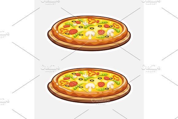 Pizza On Wooden Board Italian