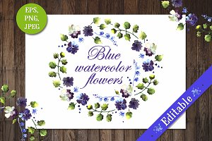 Set of blue watercolor flowers