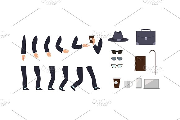 Businessman Character Constructor With Accessories