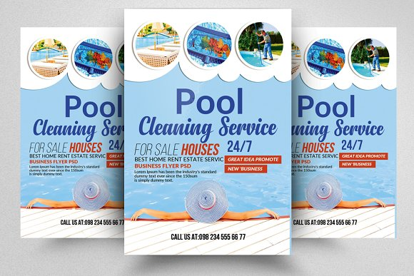 Swimming Pool Cleaning Flyer Templat