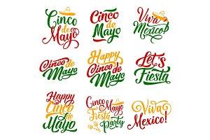 Cinco de Mayo Mexican holiday fiesta vector icons