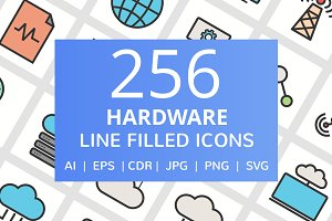 256 Hardware Filled Line Icons