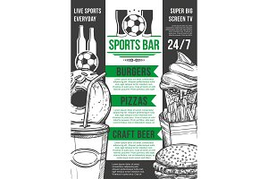 Vector soccer sport bar football beer pub menu