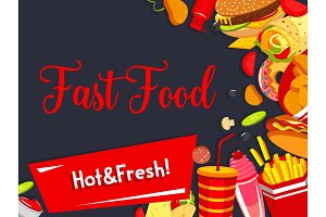 Vector fast food restaurant meals menu poster