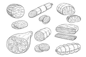 Vector sketch iocon of meat and sausage products