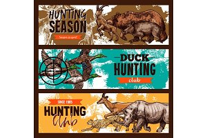 Vector sketch banners for wild hunting open season