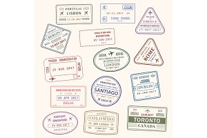 Passport stamp vector city and country icons set