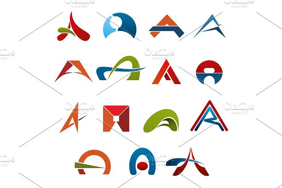 Letter A Abstract Colorful Icons