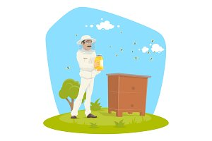Beekeeping apiary and beekeeper vector design