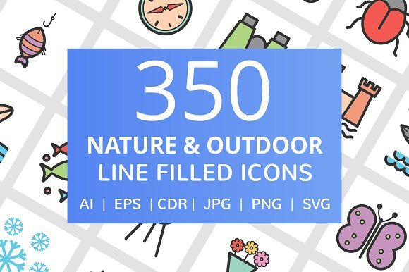 350 Nature Outdoor Filled Icons