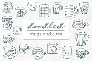 Doodled Mugs and Cups – Set of 18