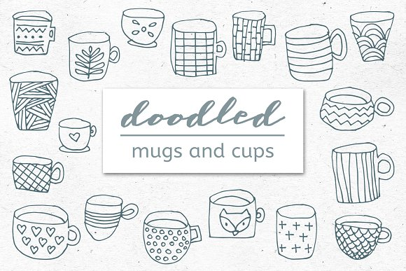 Doodled Mugs And Cups Set Of 18
