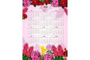 Floral calendar 2018 of flowers vector design