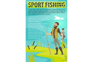 Vector fisherman sport fishing vector poster
