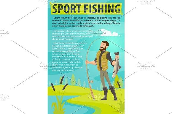Vector Fisherman Sport Fishing Vector Poster