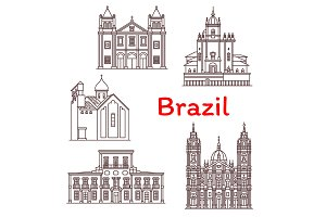Brazil landmarks vector architecture icons