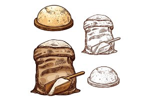 Vector sketch icons of baking flour bag and bread