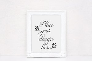 White frame mockup rustic template