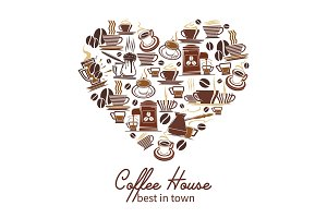Vector coffee poster for cafeteria or coffeehouse