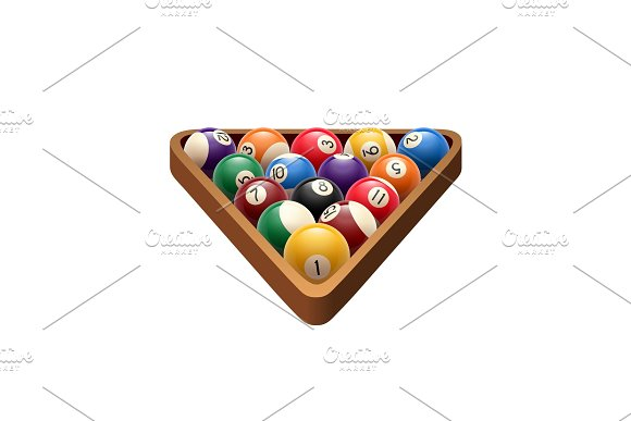 Pool Billiards Balls In Triangle Vector Game Icon