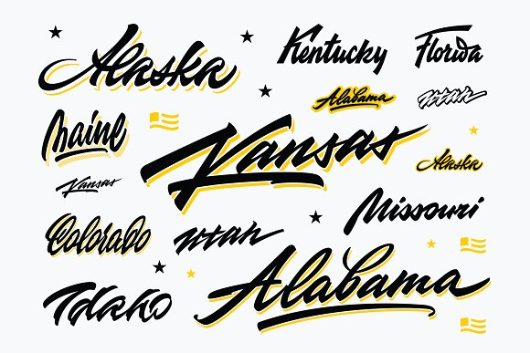 USA States Brush Vector Lettering