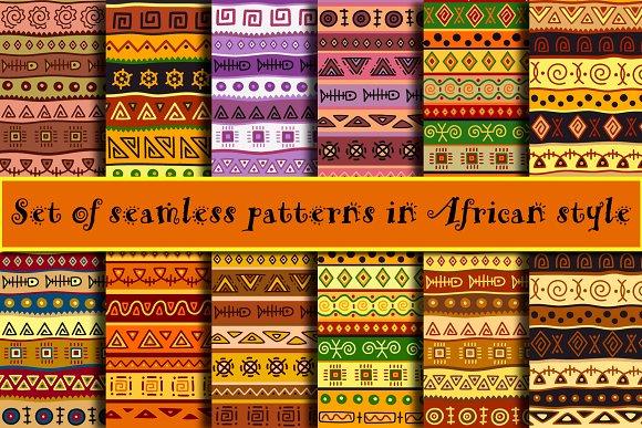 African seamless patterns set