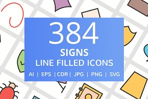 384 Sign Filled Line Icons