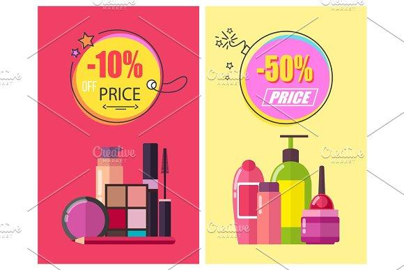 -50% Off Price Poster Set Vector Illustration