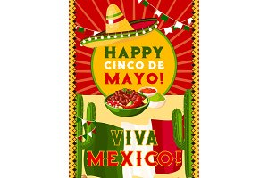 Cinco de Mayo card with mexican flag, fiesta food