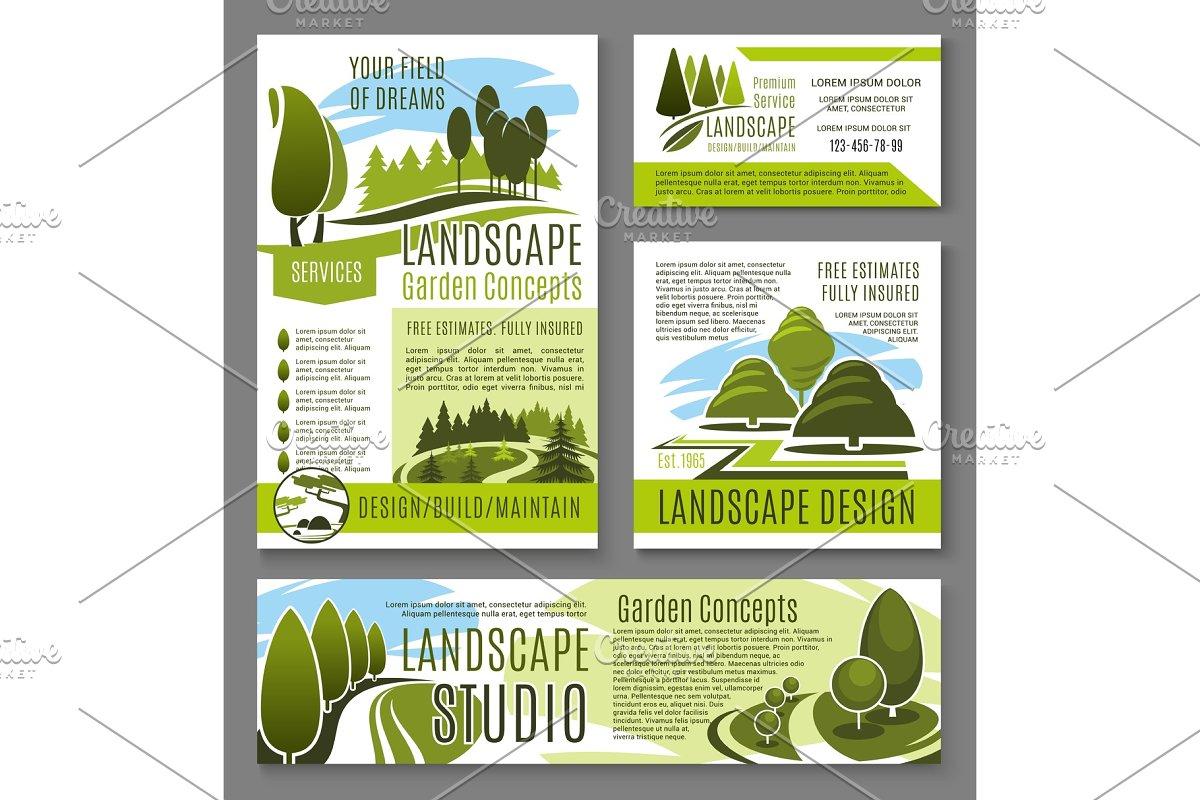 Vector Landscape Garden Design Concept Posters Custom Designed