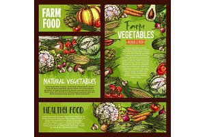 Vector vegetables veggie farm food sketch posters