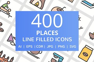 400 Places Filled Line Icons