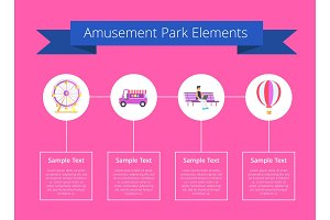 Amusement Park Elements Poster Vector Illustration